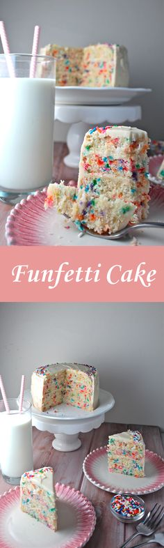 This Funfetti Cake is swathed in a delicious vanilla buttercream frosting and loaded with sprinkles for the perfect celebratory treat! | The Millennial Cook #cake #funfetticake #birthdaycake #sprinkles