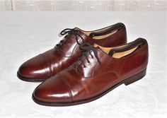 Cole Haan Brown Leather Cap Toe Dress Oxford Made in Italy Men's Size 8.5 M #ColeHaan #CapToeDressOxford