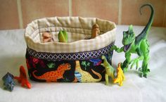 Fabric Storage Basket Dinosaurs - The Supermums Craft Fair