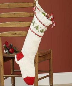 Looking for free Christmas knitting patterns?  Look no further than this fantastic Knit Stocking for Christmas project. You'll want to hang this knit stocking every year. This Christmas stocking is a warm white color but has bright red toe and heel.