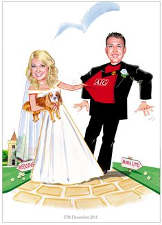 Bride pulling the groom away from his favourite Man United to go to the church. With their dog Ahhh!