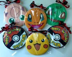 Custom Personalized Pokemon Birthday Favors by SugarSweetBakeShop Birthday Cookies, Birthday Favors, Birthday Decorations, Pokemon Themed Party, Pokemon Birthday, Twin Birthday, 10th Birthday, Diy Cookie Cutter, Cookie Favors