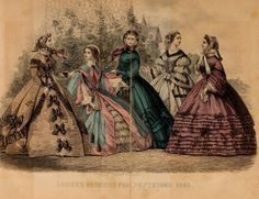 Godey's lady's book 1861 Jan -June; Jul - Dec I like the trim on the brown dress for my black wool dress.
