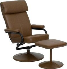 Flash Furniture BT-7863-PALOMINO-GG Contemporary Palomino Leather Recliner/Ottoman with Wrapped Base