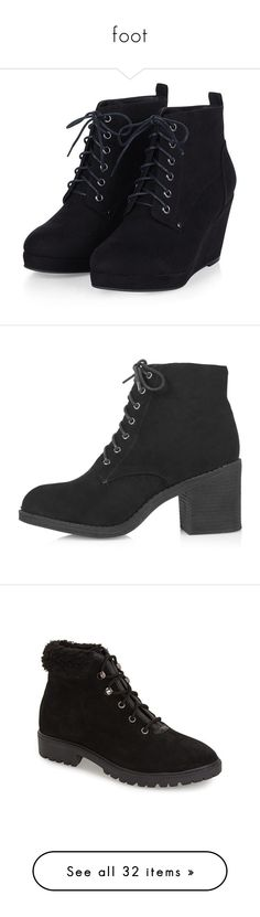 """foot"" by rosemarykate ❤ liked on Polyvore featuring shoes, boots, ankle booties, heels, wedges, lace up booties, black booties, wedge booties, black lace up boots and short black boots"