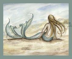 Seaside Beach Mermaid Print from Original Watercolor Painting by Camille Grimshaw. $6.99, via Etsy.