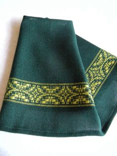 Fingertip Towel Handwoven Dark Green and by ThistleRoseWeaving, $20.00