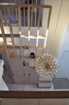 Studio Vabø - Staircase design - Møllegata Storage and partition Staircase Design, House Plans, Chandelier, Ceiling Lights, Studio, Lighting, Architecture, Storage, Home Decor