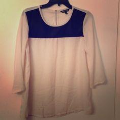 Express sheer off white top Black detailing around shoulder area and neck , 3/4 sleeve, zipper back sheer Express Tops