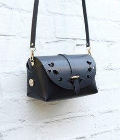 Large Leather Cutout Barrel Bag Black Bag Handmade by ARTonomousgr