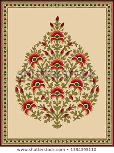 Picture of seamless Indian mughal flower motif stock photo, images and stock photography. Pichwai Paintings, Mughal Paintings, Indian Art Paintings, Madhubani Art, Madhubani Painting, Motifs Textiles, Textile Prints, Islamic Art Pattern, Pattern Art