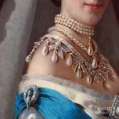 Danish Princess Painting - Historical Fashion, Royal Jewels On Empress Of Russia, Detail by Tina Lavoie
