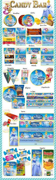 Kit Imprimible Cenicienta: Incluye invitaciones, Candy Car, Cajitas, Banderines y muchas cosas mas! Se envía por email y es editable con Power Point. Hacé clic en visitar para verlo completo !