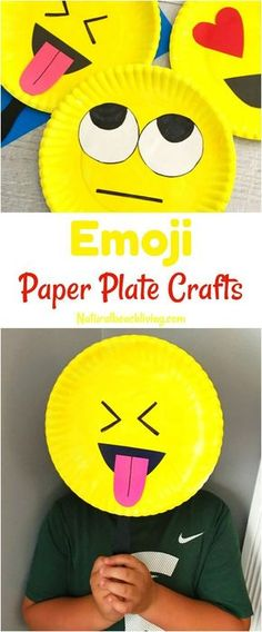 Super Cute Emoji Paper Plate Craft, Emotions Theme, Party Props, Emoji Party Ideas, Great Crafts for kids, Crafts for teens, Set up an Emoji Birthday Party #kidscrafts
