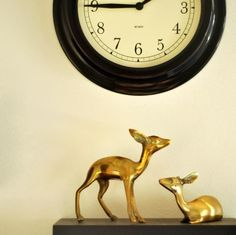 I Love You Deer Vintage Brass Pair