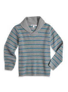 Pumpkin Patch - knitwear - shawl collar stripe jersey - W3CB30005 - rock pool - 2 to 10