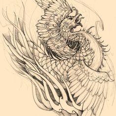 Phoenix sketch for client. #chronicink #asianink #tattoo #irezumi #phoenix #irezumi_collective #sketch