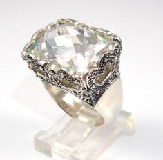 Sterling Silver Barse Crown Clear Stone Cocktail Ring Size 6.25 - http://designerjewelrygalleria.com/barse/sterling-silver-barse-crown-clear-stone-cocktail-ring-size-6-25/