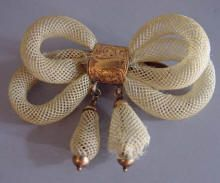 "VICTORIAN blond hair bow brooch of open table work with drops, 2"" by 1-3/4"". This brooch, sadly, has major damage, but I am sure it was treasured and worn by someone many years ago."