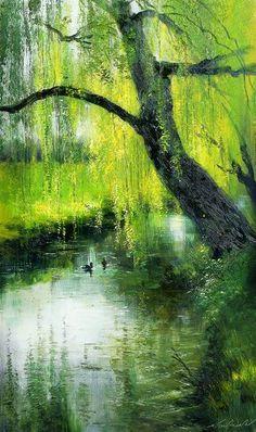 ART~ The Weeping Willow~ Serguei Toutounov- Russian.