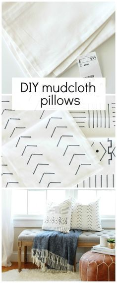 DIY Mudcloth Pillows for Under $6, using a sharpie and paint swatch