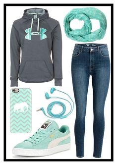 """""""199: Mint"""" by alinepelle ❤ liked on Polyvore featuring Under Armour, FOSSIL, ModestlyChic Apparel, Puma and Casetify"""