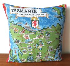 Cushion Tasmania The Holiday Island Made from a linen Tea | Etsy