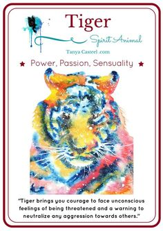 Tiger spirit animal symbolism, meaning, and Galaxy watercolor paintings. What's your spirit animal? Tiger Spirit Animal, Whats Your Spirit Animal, Spirit Animal Totem, Animal Spirit Guides, Spirit Animal Tattoo, Animal Meanings, Animal Symbolism, Symbols And Meanings, Power Animal
