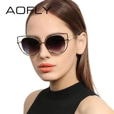 fb71772d129 Aliexpress.com   Buy AOFLY New Fashion Cat Eye Sunglasses Women Elegant Brand  Designer Metal Hollow Frame Ladies Goggle Mirror Lenses gafas AF2520 from  ...
