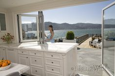 folding windows & doors (when we win the lottery & buy this house) Jacuzzi, Window Over Sink, California Room, Outdoor Living, Indoor Outdoor, 4 Season Room, Diy Cabinet Doors, Interiores Design, Windows And Doors