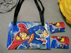 Vinyl Superman placemat purse with matching wallet.