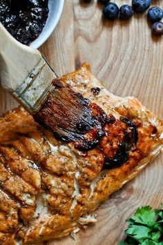 Grilled Blueberry BBQ Salmon | How Sweet It Is