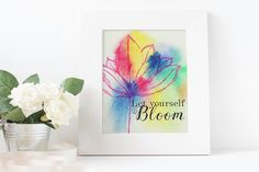 """Printable art """"Let yourself Bloom"""" #Watercolour #8x10 inches #Hand painted #Home decor #Instant download # print of original artwork by SweetSoulprintables on Etsy"""