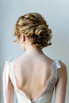 Curly Bridal Updos for Medium Hair