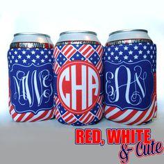 Red White and Cute Patriotic koozie by TheMonogramLine, $8.50