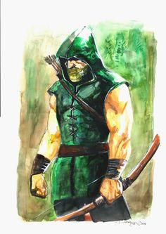Original Comic Art titled Arrow watercolor, located in Rico's DIOGO FREU Comic Art Gallery Comic Book Heroes, Comic Books Art, Comic Art, Superhero Characters, Dc Characters, Green Arow, Green Arrow Cosplay, Arrow Black Canary, Arrow Oliver