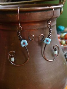 Springtime Vines - Copper and Czech glass bead Wirework Earrings - FREE SHIPPING. $17.00, via Etsy.