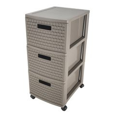 Tour de rangement 3 tiroirs country - 38 x 30 x H 65,5 cm - Beige taupe Taupe, Beige, Filing Cabinet, Lockers, Locker Storage, Furniture, Home Decor, Drawers, Decoration Home