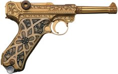 German luger- Exceptionally Rare Cased Gold Plated Factory Engraved Carved Ivory Stocked Krieghoff Presentation Luger Pistol