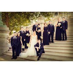 Bridal Party, black bridesmaid dresses, wedding