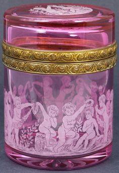 ❤ - Rare 19thC Cranberry European Glass Box w/ Cherubs