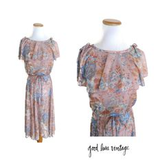 70s Floral Dress Sheer Midi Maxi Flutter Sleeves Sleeveless Dusty Pink Mauve Muted Pastels 1970s Hippie Boho Size Medium by GoodLuxeVintage on Etsy