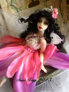 One of a Kind Pink Fairy with Lace Wings  for by ShariDeppDesigns, $49.00