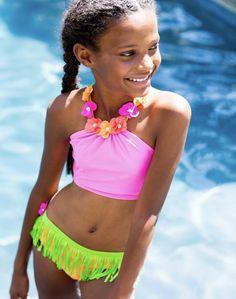 "Love U Lots Two Piece Pink & Green ""Hula"" Bikini Swimsuit *PREORDER*"
