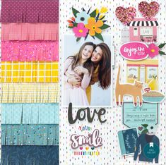 It's Bea here with you today, and I'm so excited to share my first layout using the brand new Slice of Life collection by Amy Tangerine. This collection is so bright and fun and it's made for everyday. Baby Scrapbook, Scrapbook Cards, Beav, Love Your Smile, Rainbow Paper, Slice Of Life, American Crafts, Layout Inspiration, Scrapbooking Layouts