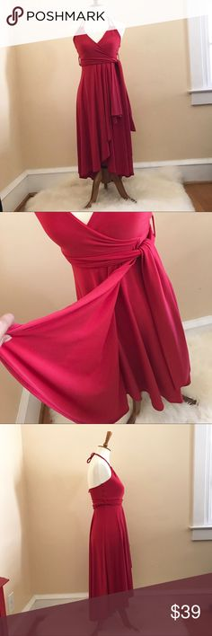 Belted Red Asymmetrical Halter Top Dress Beautiful red spaghetti strap dress with belted waist. Never worn. Arden B Dresses Asymmetrical