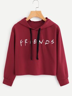 Buy Friends Letter Hoodie This hoodie is Made To Order, one by one printed so we can control the quality. We use newest DTG Technology to print on to Friends Letter Hoodie Crop Top Hoodie, Red Hoodie, Cropped Hoodie, Hoodie Sweatshirts, Mode Grunge, Grunge Style, Jugend Mode Outfits, Vetement Fashion, Cute Crop Tops
