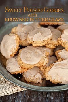 sweet potato cookie recipe topped with the most delicious browned butter glaze! perfect for fall and winter!