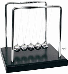 Classic Physics Novelty Newtons Cradle Demonstrates Newton's Law of Conservation of Energy as clearly as is possible. Simply release any number of balls on one side, and the same number will rise from