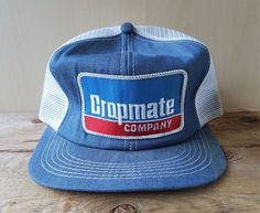92ef1da2fc41d Vintage CROPMATE COMPANY Denim Mesh Farming Trucker Hat Snapback Cap K  Brand USA  KBrand  BaseballCap